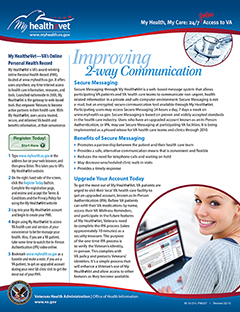 Improving 2-way communication : my health, my care, 24/7 online access to VA. cover