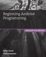 Beginning android programming : develop and design cover