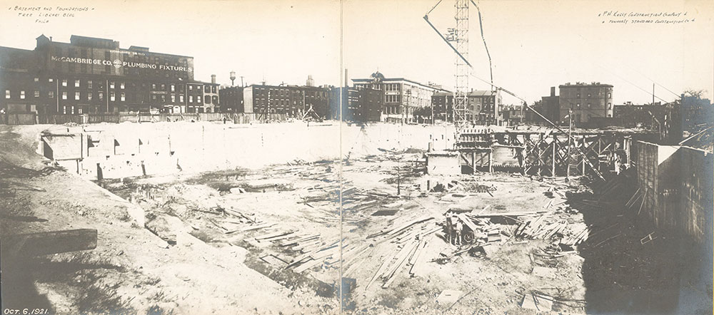 Construction of the foundation of the Central Library of the Free Library of Philadelphia. October 6. 1921