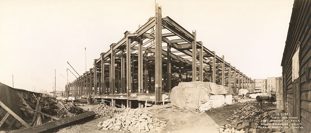 Construction of the steel frame of the Central Library of the Free Library of Philadelphia. December 7. 1922
