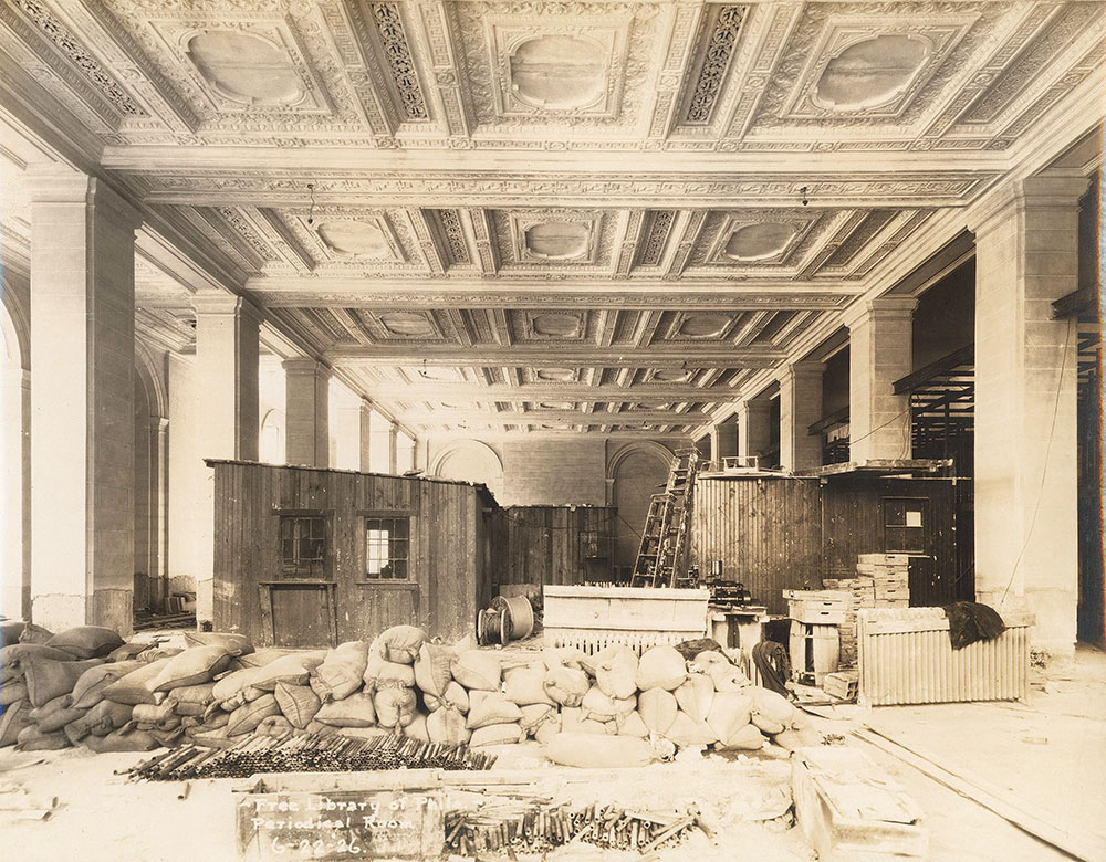 Construction in the Periodical Room of the Central Library of the Free Library of Philadelphia. now the Popular Library. June 22. 1926