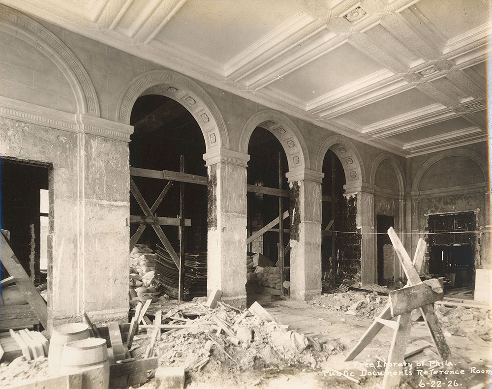 Construction in the Government Publications Room of the Central Library of the Free Library of Philadelphia. June 22. 1926