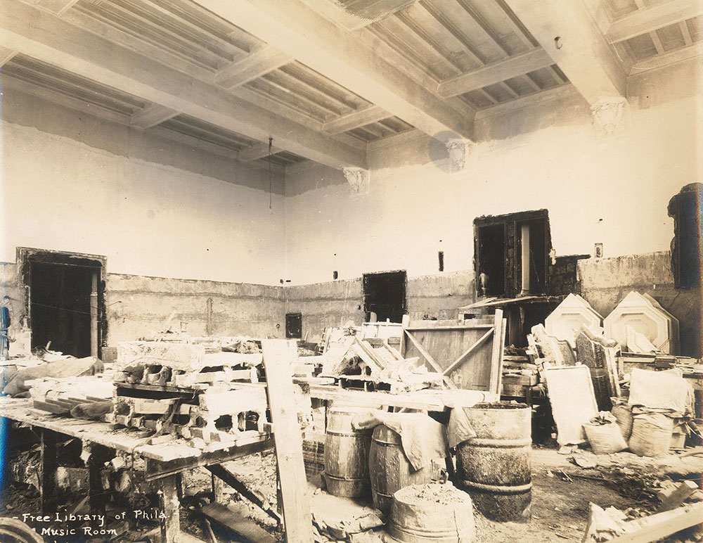 Construction in the Music Room of the Central Library of the Free Library of Philadelphia, now the Education, Philosophy, and Religion Department, June 23, 1926.