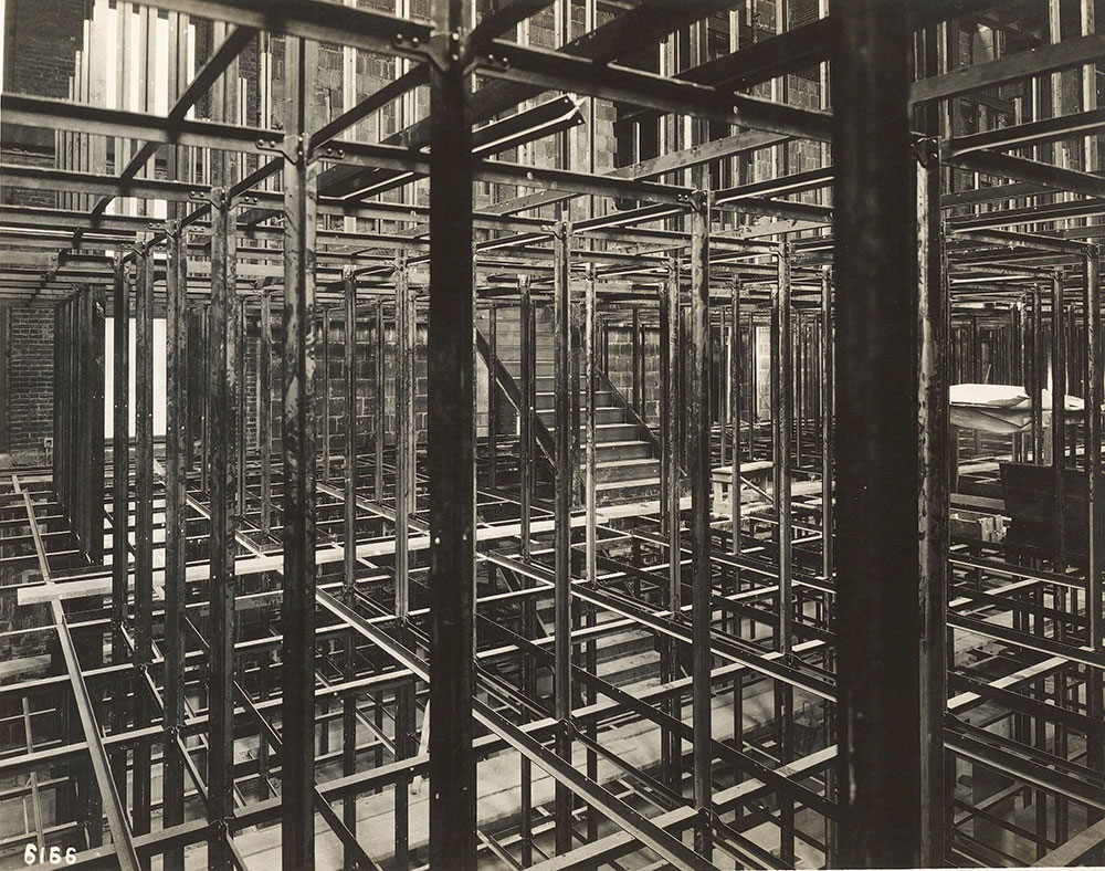Bookstacks during construction of the Central Library of the Free Library of Philadelphia, 1926.