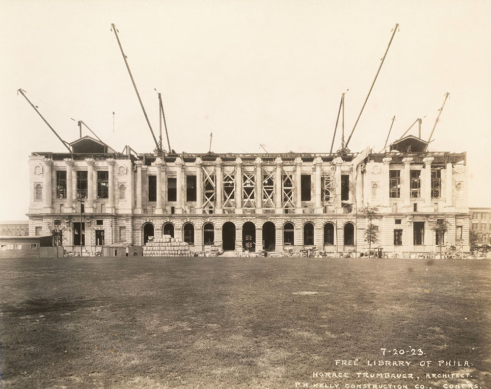 Nearing completion of the limestone exterior of the Central Library of the Free Library of Philadelphia, July 20, 1923.