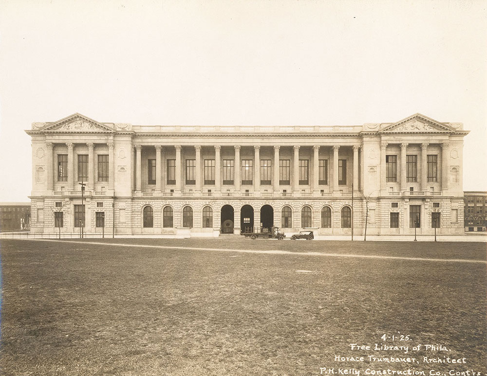 Completion of the exterior of the Central Library of the Free Library of Philadelphia, April 1, 1925.