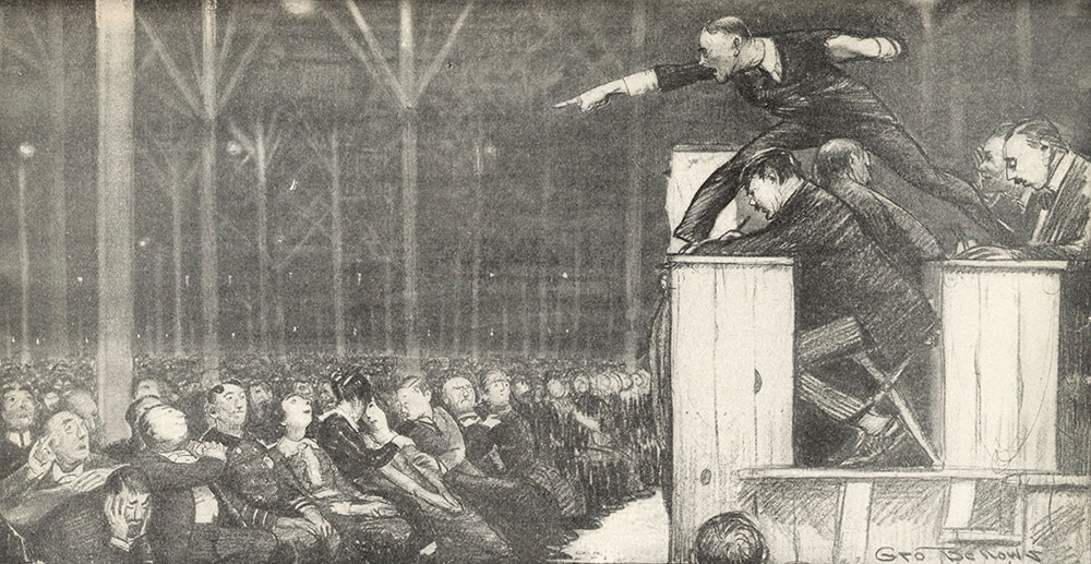 Evangelist Billy Sunday preaching on March 15, 1915 in a temporary tabernacle erected on the site of the Central Library of the Free Library of Philadelphia