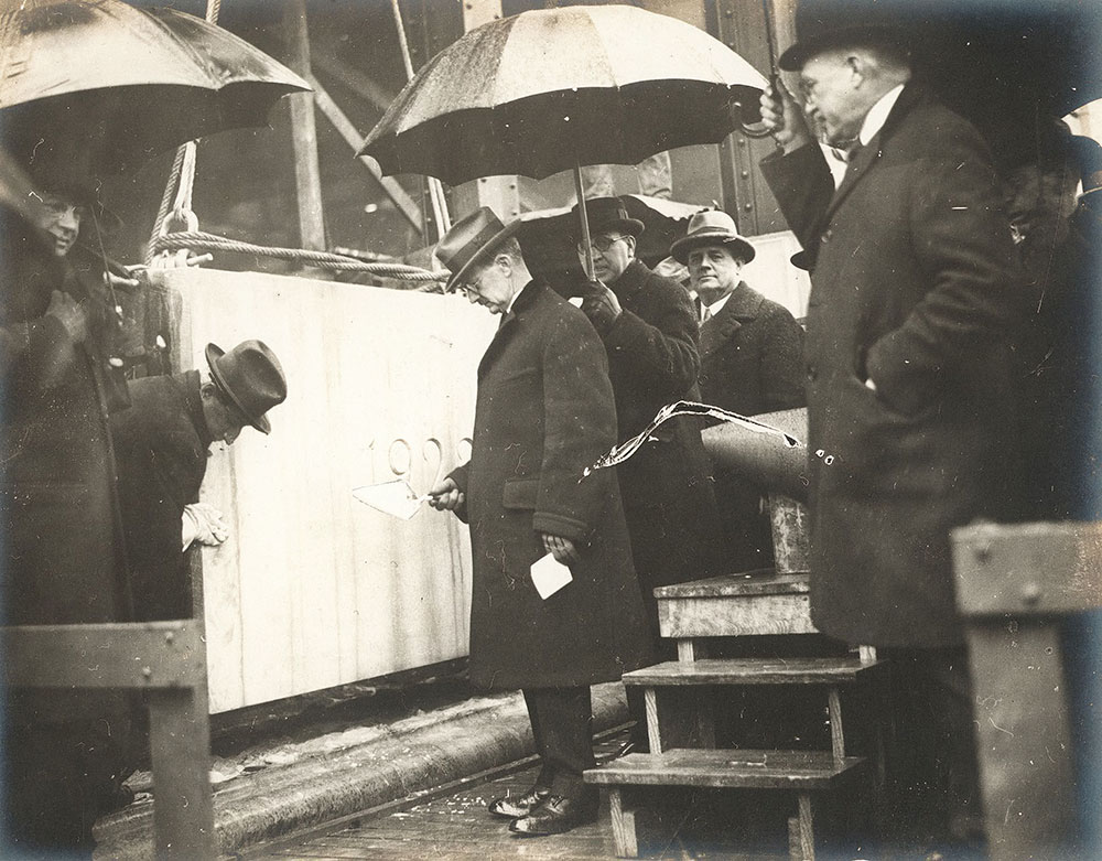 Mayor J. Hampton Moore laying the cornerstone of the Central Library of the Free Library of Philadelphia, January 24, 1923