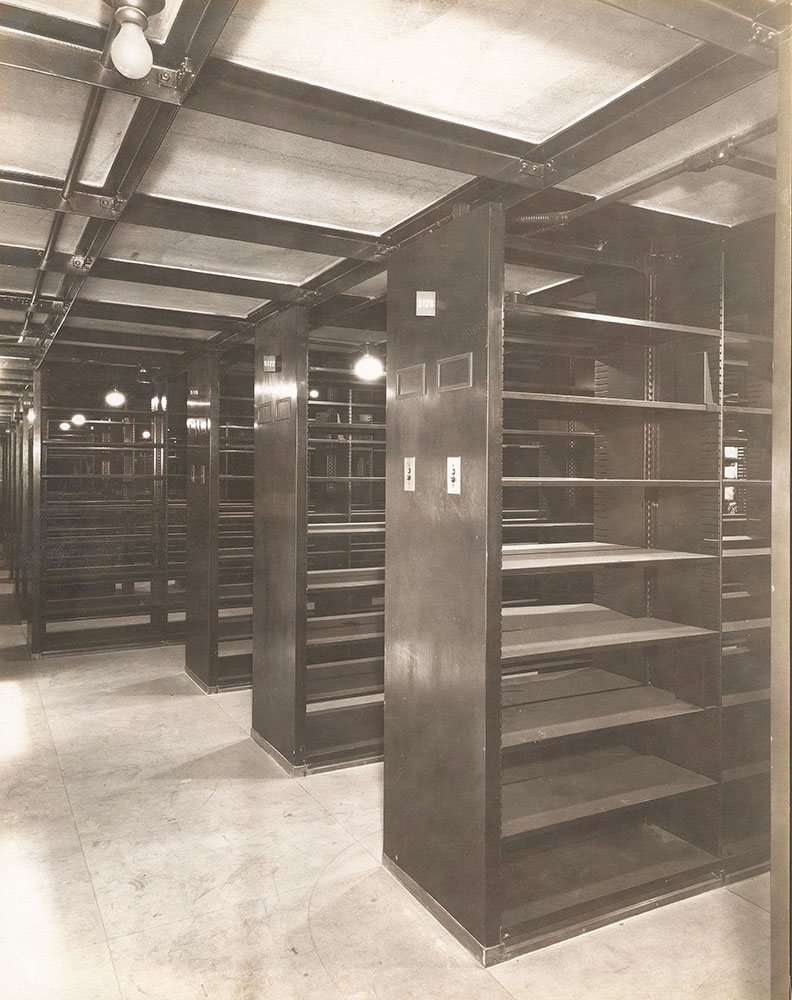 View of the completed Bookstacks prior to the movement of the library's collection to the Central Library of the Free Library of Philadelphia