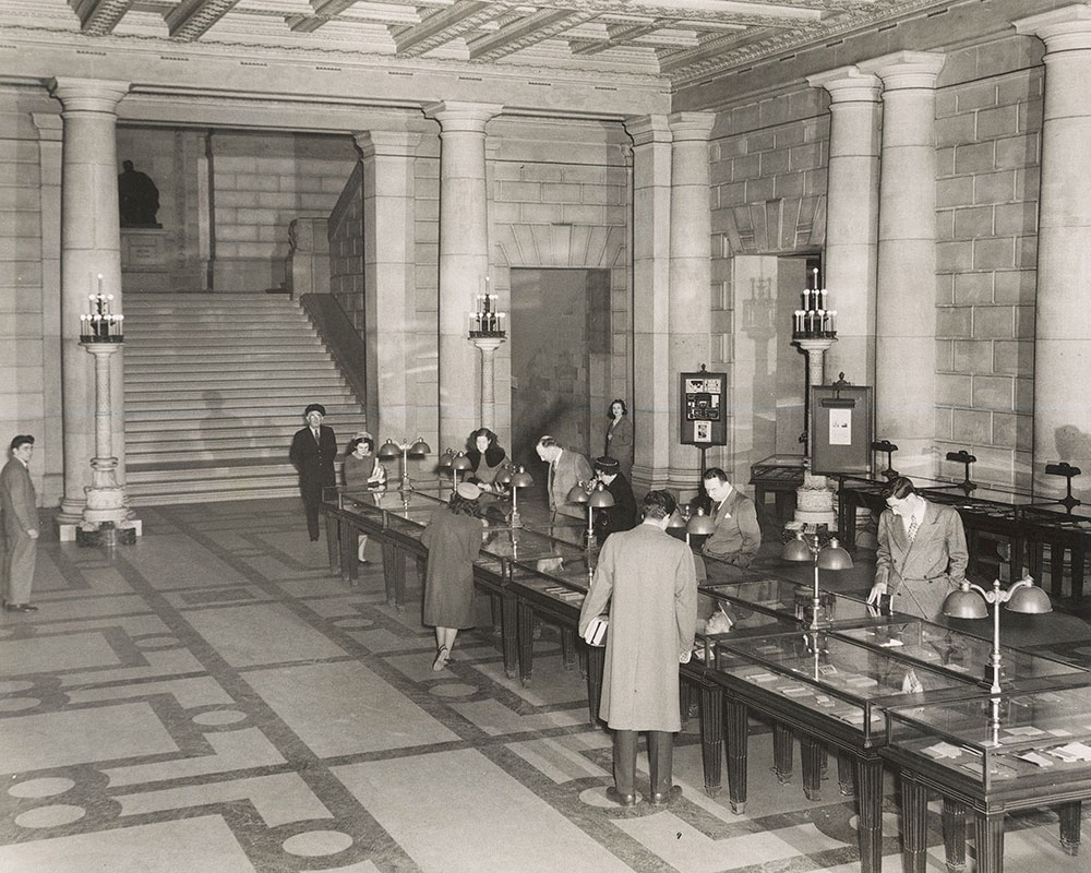 Exhibition of children's books from the Rosenbach Collection in the Main Entrance Hall of the Central Library of the Free Library of Philadelphia, 1947