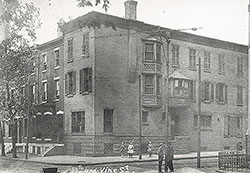 Site of the Central Library prior to the demolition of extant buildings, 1909