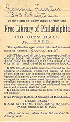 Borrower's card for the Free Library of Philadelphia