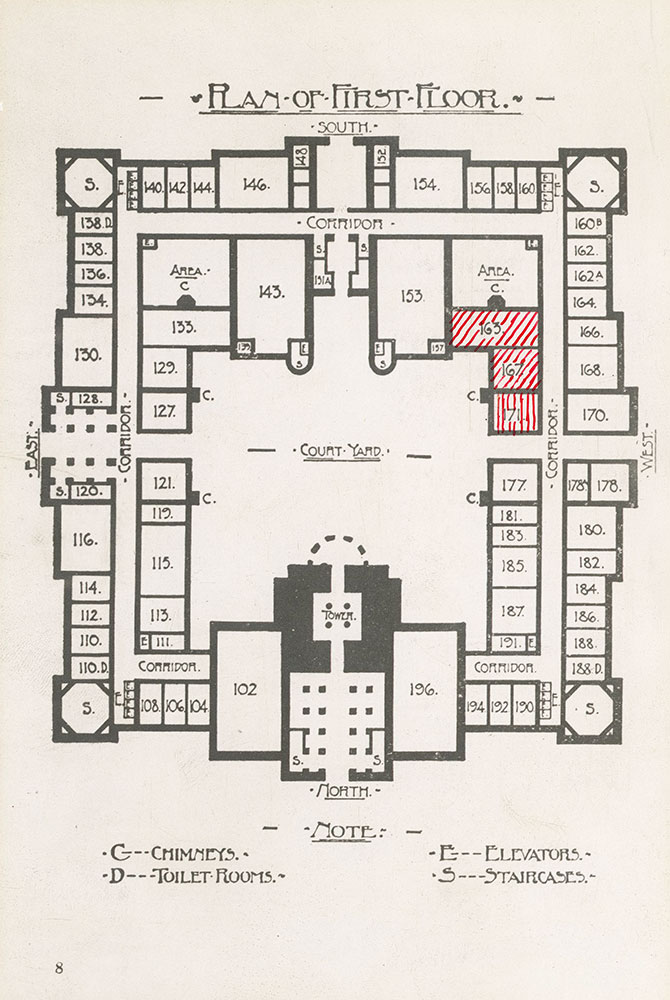 Plan of first floor of City Hall which contained the Free Library of Philadelphia