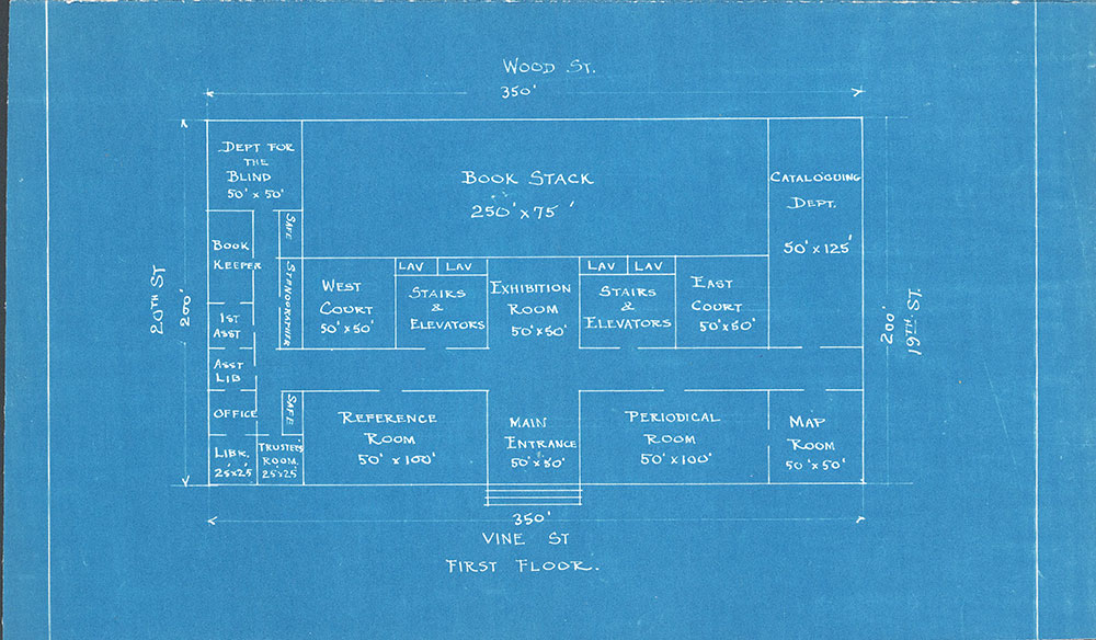 Early blueprint of the floor plans of the Central Library of the Free Library of Philadelphia