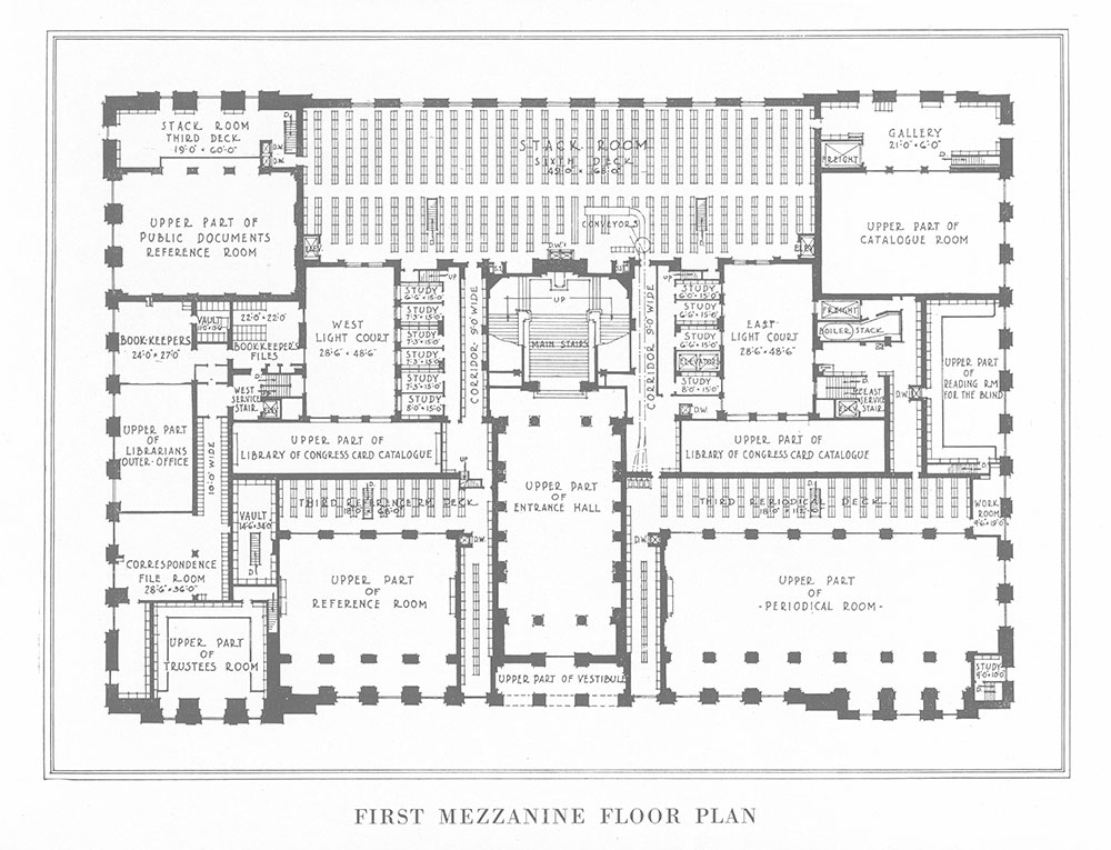 First Mezzanine Floor Plan Steel Frame Version Of The Central Library Of The Free Library Of Philadelphia 1922 Digital Collections Free Library
