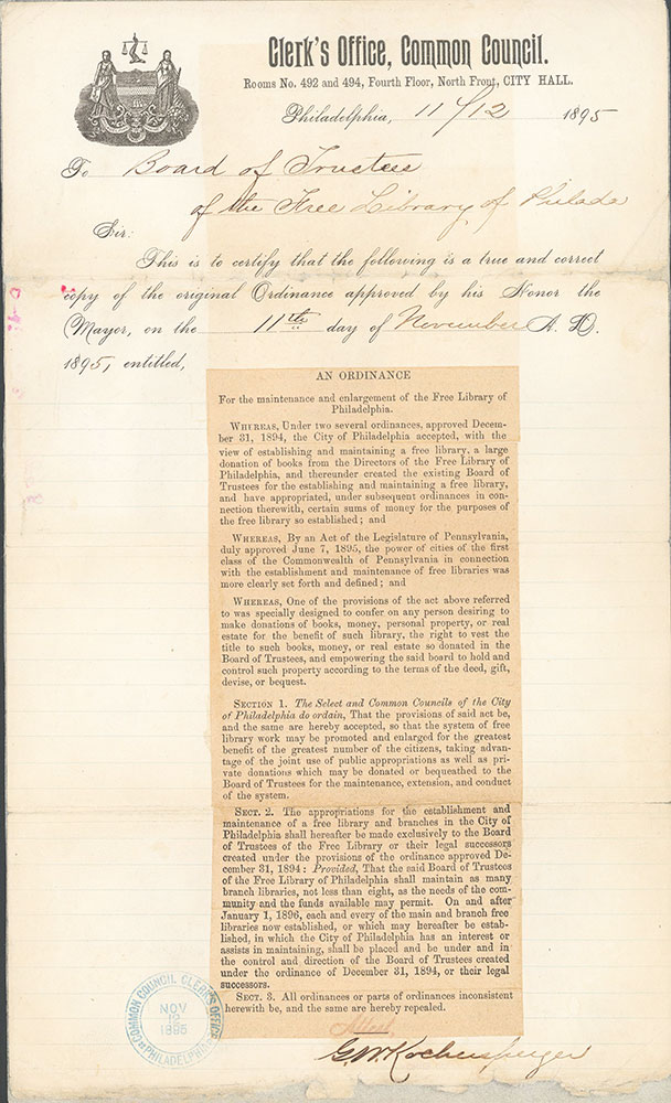 Ordinance of Nov. 11, 1895 tranferring all library branches to the Board of Trustees of the Free Library of Philadelphia