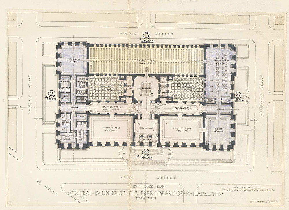 First floor plan, Central Building of the Free Library of Philadelphia : colored, in four sections, documenting the funding problems surrounding the 1898 loan