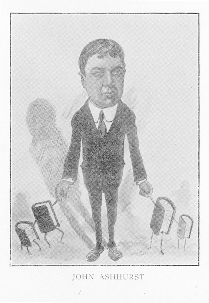 Caricature of John Ashhurst, assistant librarian at the Free Library of Philadelphia, by Hugh Doyle, c. 1902