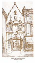 Julian Abele, Gothic House, Tours, France, travel sketch, 1915