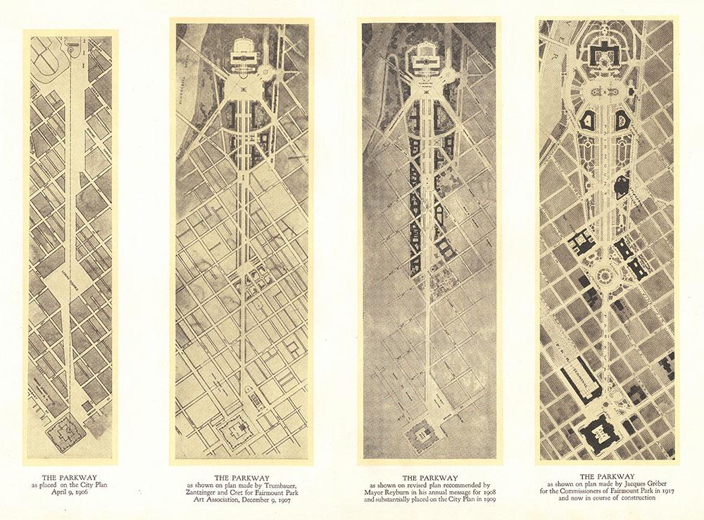 Four plans for the Fairmount Parkway in Philadelphia from the Fairmount Park Art Association