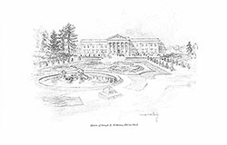 Sketch by Vernon Howe Bailey of Lynnewood Hall, Elkins Park, PA, 1898, sketch c. 1922