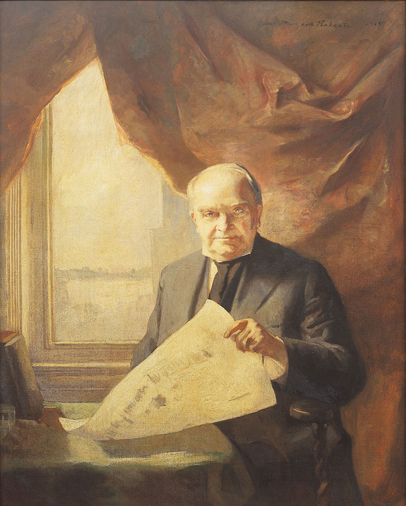 Portrait of president of the Board of Trustees of the Free Library of Philadelphia Henry Edmunds