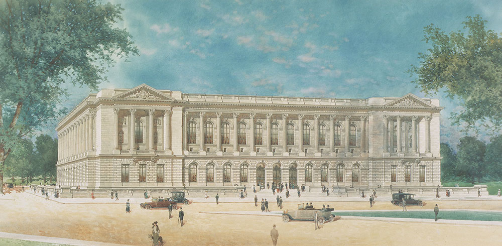Central Library of the Free Library of Philadelphia by Horace Trumbauer. Perspective from southwest