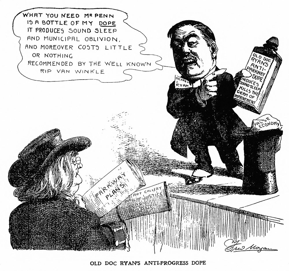 Old Doc Ryan's anti-Parkway dope: cartoon from Philadelphia inquirer, Feb. 20, 1912