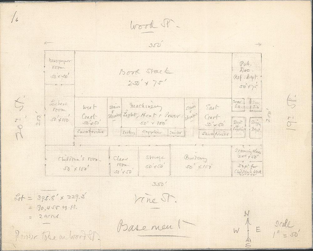Plan of the basement floor of Central Library of the Free Library of Philadelphia based on the ideas of John Ashhurst