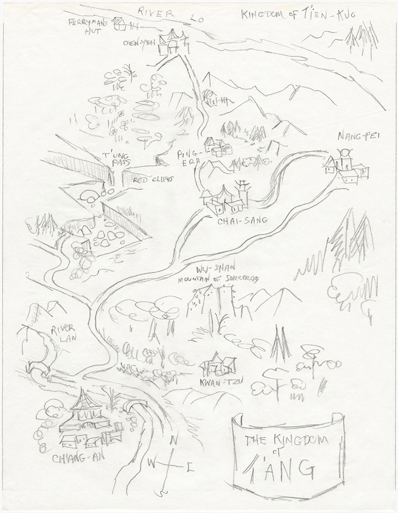 Latest version of map of Kingdom of T'ang, for The Remarkable Journey of Prince Jen
