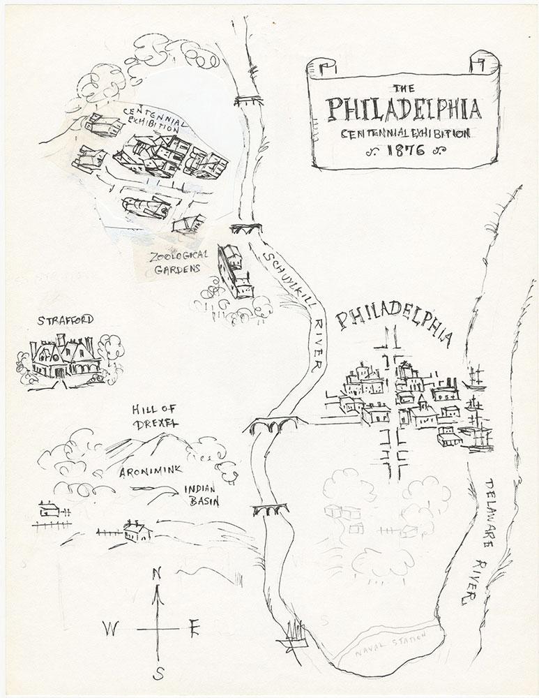Earlier version of map of Philadelphia, for The Philadelphia Adventure