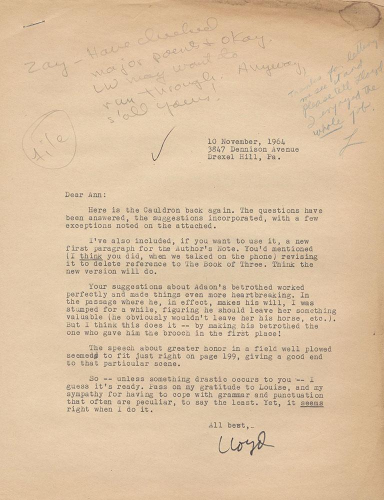 Letter to Ann Durell