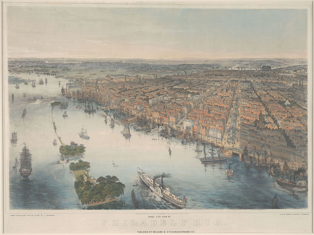 Bird's Eye View of Philadelphia Drawn from nature and on stone by J. Bachmann