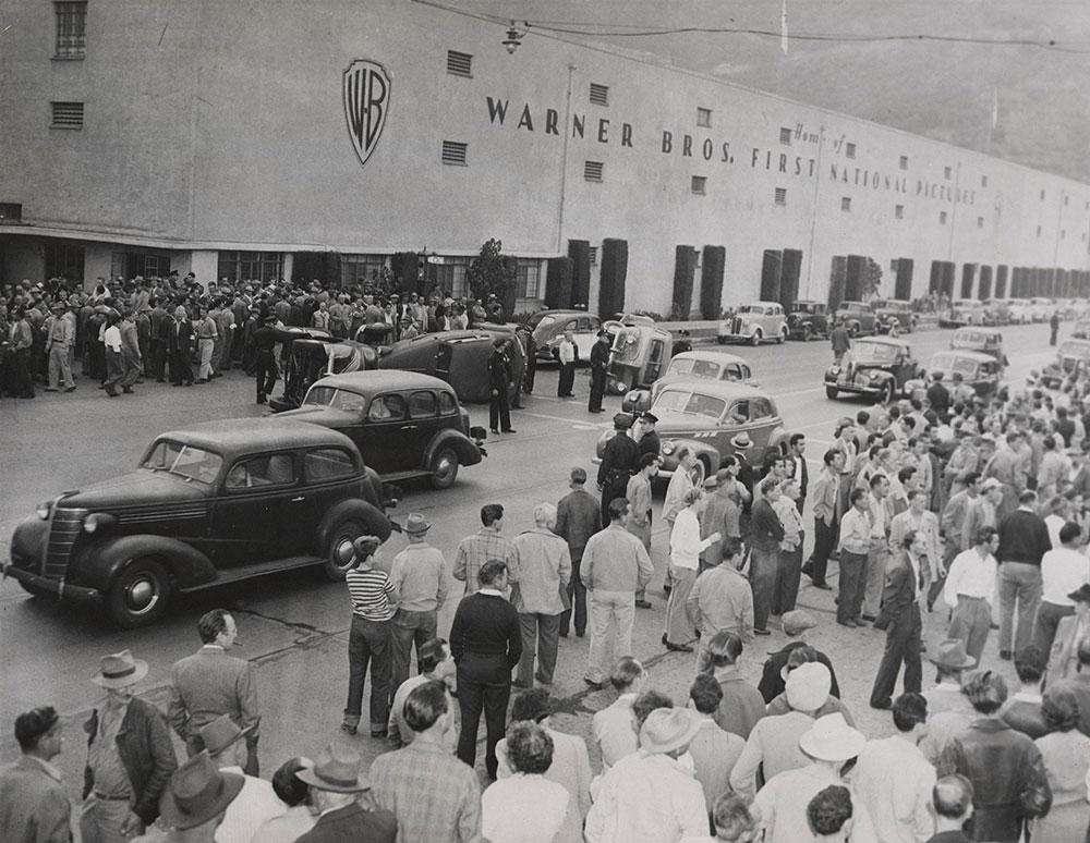 Warner Brothers Strike 1945 - Overturned Cars