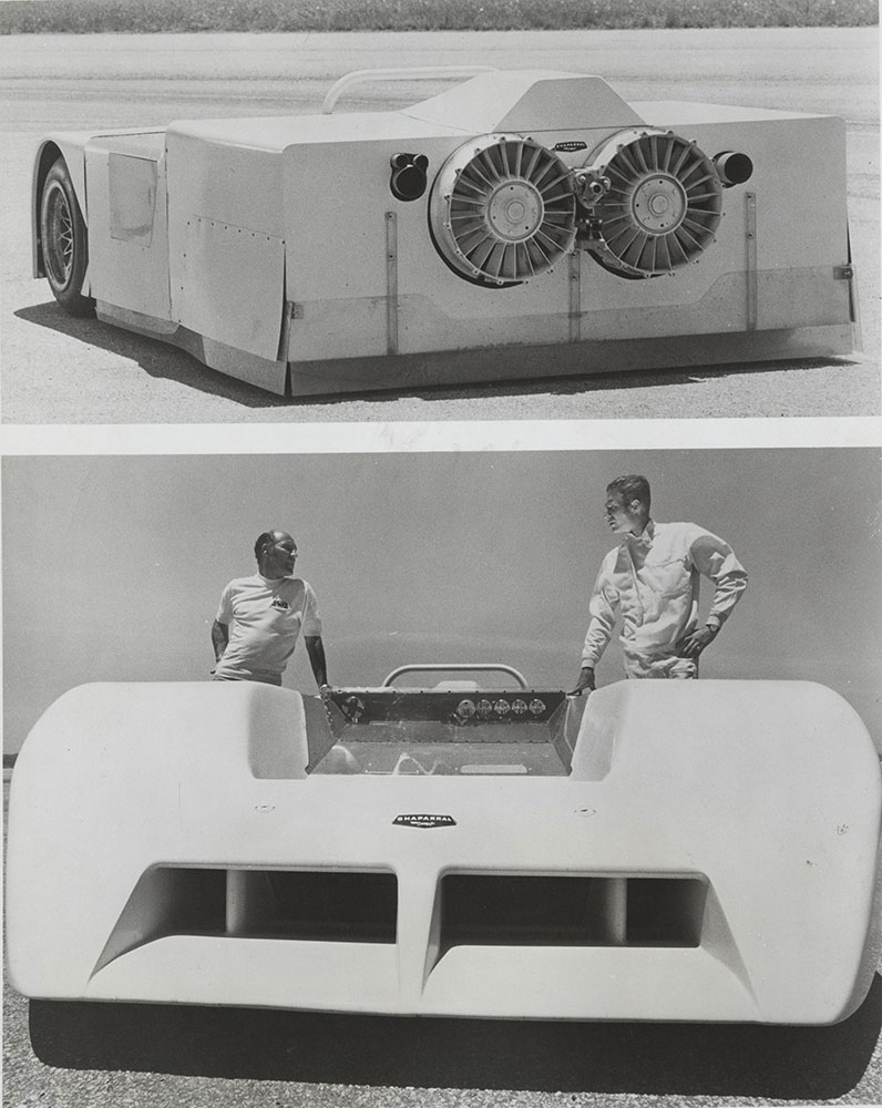 Chaparral -1970 Model 2J (Top) Fans for ground effect (Bottom) Jim Hall, right, Stirling Moss, left
