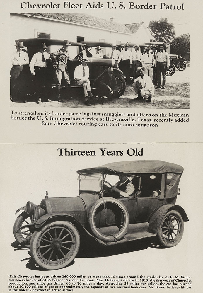 Chevrolet (Top) 4 Chevrolet touring cars with US Border Patrol (Bottom) 1913 Chevrolet touring car