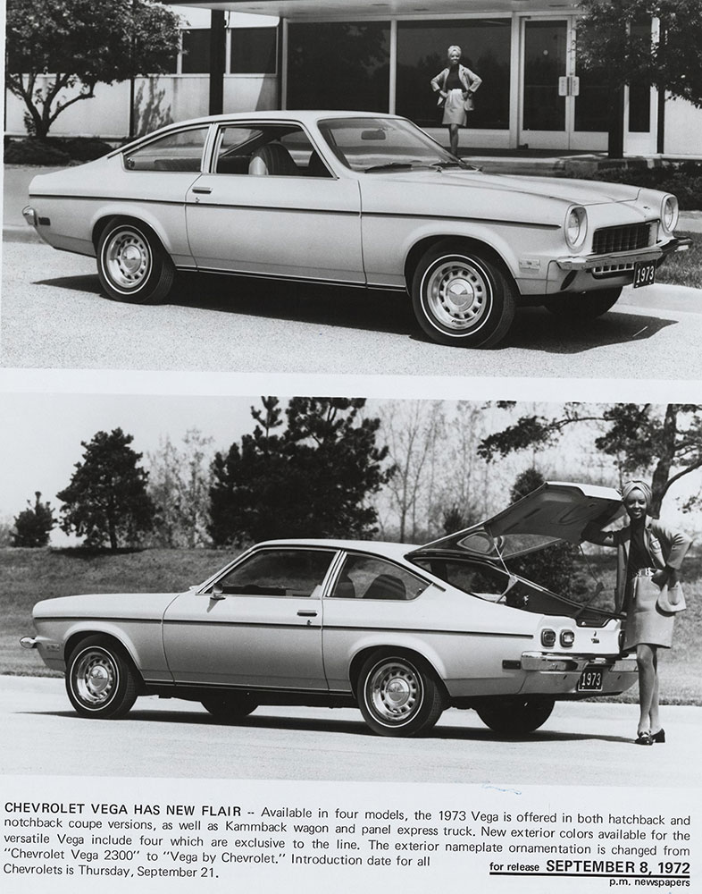 Chevrolet - 1973 - Vega hatchback (top) front three quarter view