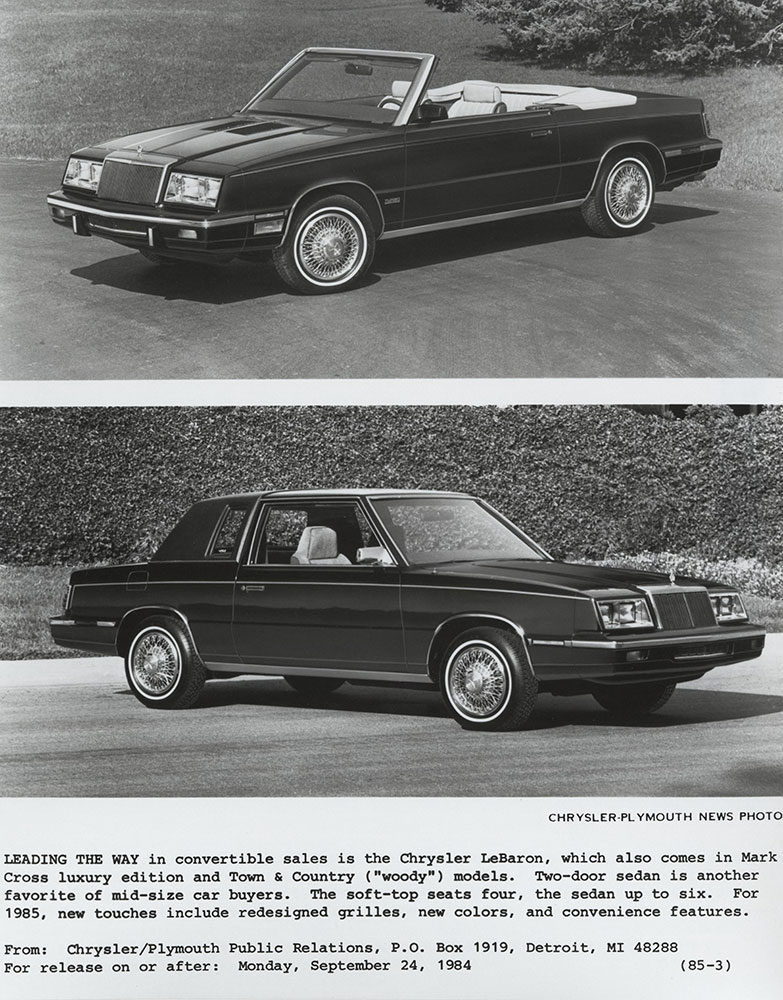 Chrysler Lebaron Convertible Top Two Door Sedan Bottom