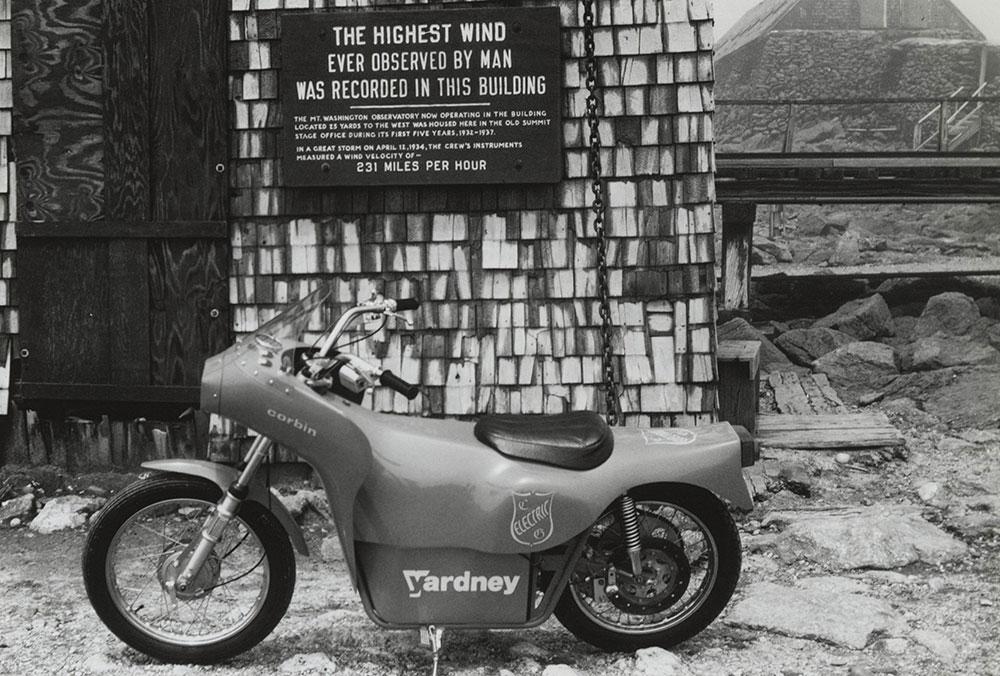 Corbin Yardney Electric Motorcycle on top of Mt. Washington.