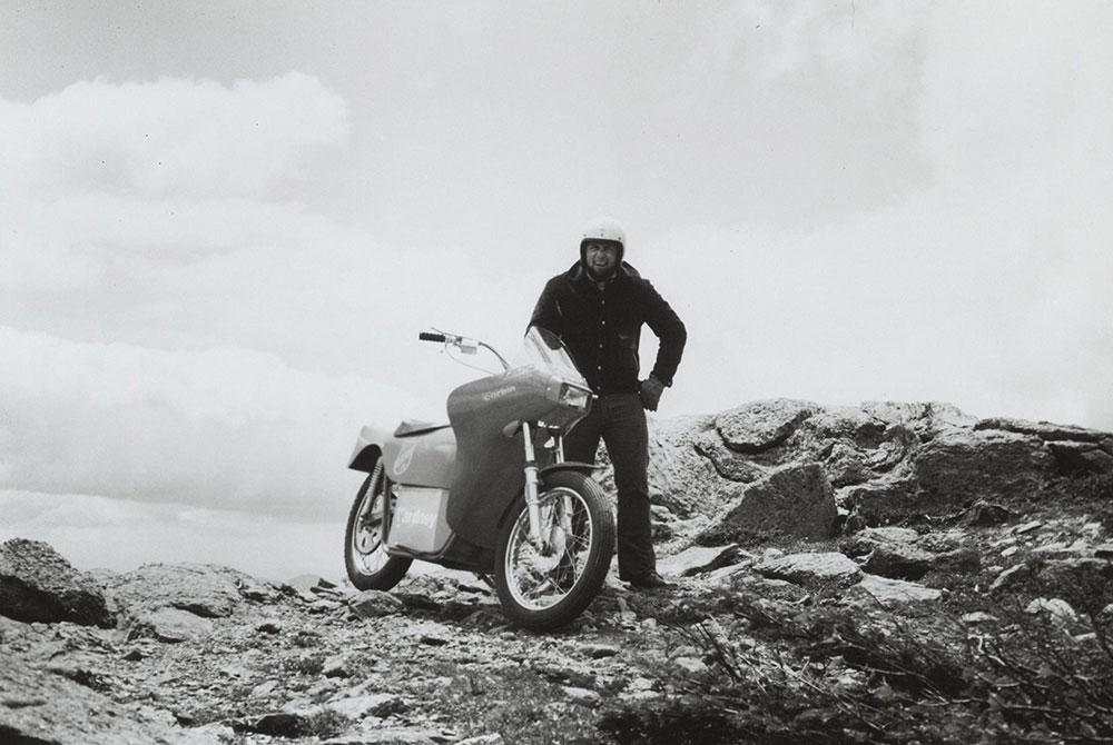 Corbin Yardney Motorcycle on top of Mt. Washington