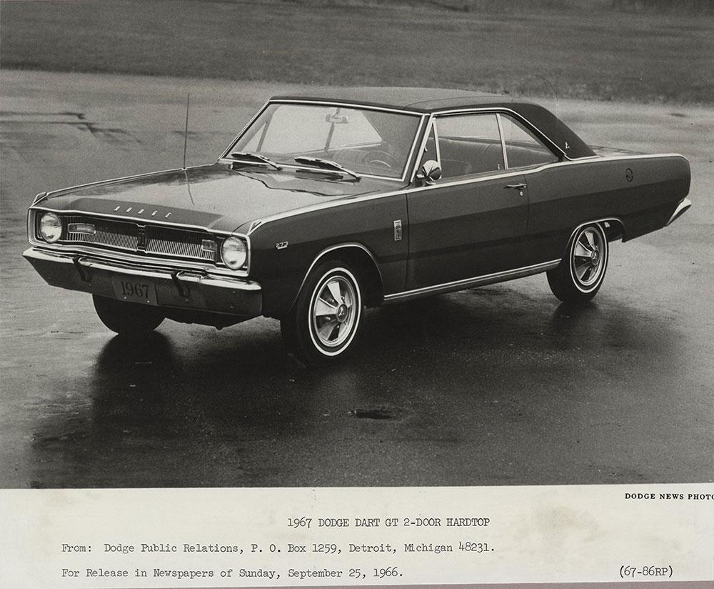 Dodge Dart Gt 2 Door Hardtop 1967 Digital Collections Free Library