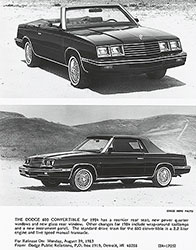 Dodge 600 Convertible for 1984