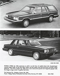 Dodge 1984 Aries Station Wagon and two-door Sedan