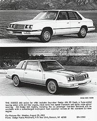 Dodge 600 ES (top) and Dodge 600 two-door (bottom) for 1984
