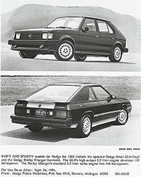 Dodge Omni GLH (top) and Dodge Shelby Charger (bottom): 1985