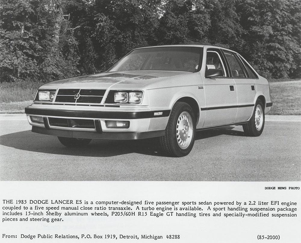 Dodge 1985 Lancer ES - Digital Collections - Free Library
