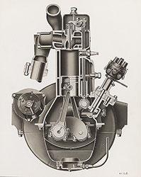 Dort six-cylinder motor, front section, cutaway: 1923