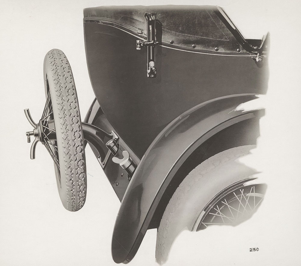 King Touring, Tire Carrier, showing gas filler and gauge - 1920
