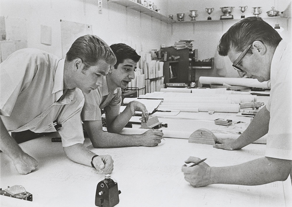 Jim Hall with engineer and draftsman