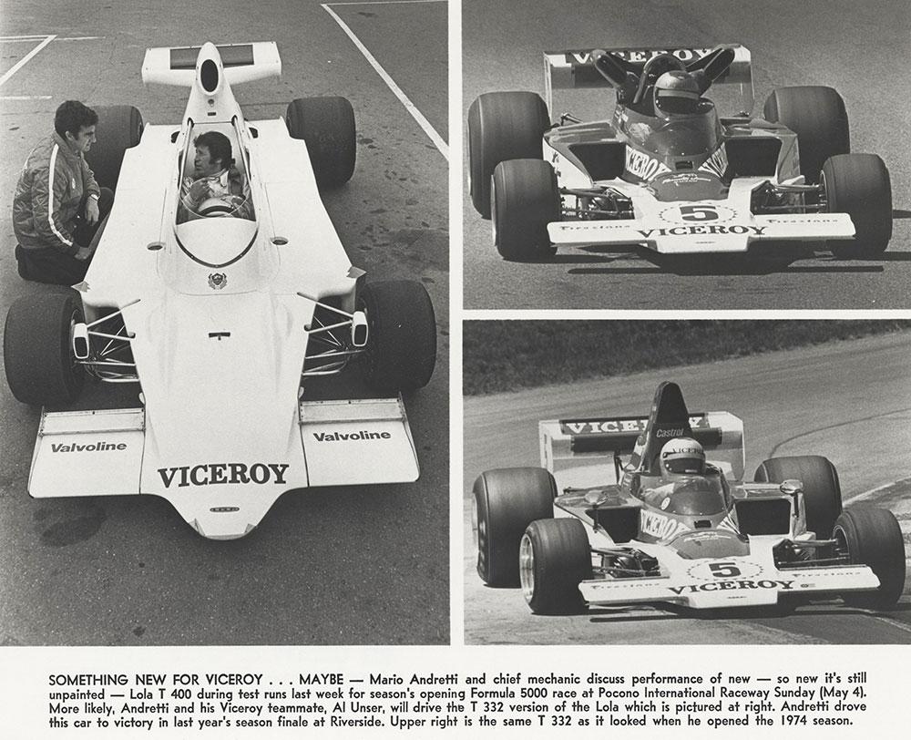 Pocono International Raceway: Mario Andretti driving Lola, 1975